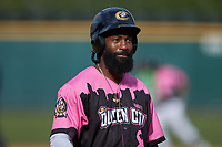 Brian Goodwin (36) of the Charlotte Knights during the game against the Gwinnett Stripers at Truist Field on May 9, 2021 in Charlotte, North Carolina. (Brian Westerholt/Four Seam Images)