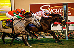 """DEL MAR, CA  AUGUST 21: #10 Astronaut, ridden by Victor Espinoza, holds on to beat #6 Master Piece, ridden by Drayden Van Dyke, #7 Acclimate, ridden by Ricardo Gonzalez, and #4 United, ridden by Flavien Prat, and win the Del Mar Handicap (Grade ll) Breeders Cup """"Win and You're In"""" Turf Division on August 21, 2021 at Del Mar Thoroughbred Club in Del Mar, CA (Photo by Casey Phillips/Eclipse Sportswire/CSM)"""