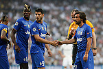 Juventus´s Pogba, Alvaro Morata and Andrea Pirlo during the Champions League semi final soccer match between Real Madrid and Juventus at Santiago Bernabeu stadium in Madrid, Spain. May 13, 2015. (ALTERPHOTOS/Victor Blanco)