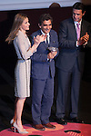 "Princess Letizia of Spain, fashion designer Adolfo Dominguez and Industry and Energy Minister Jose Manuel Soria attend ""PREMIOS NACIONALES DE LA MODA"" fashion awards ceremony at Reina Sofia museum in Madrid, Spain. June 06, 2013. (ALTERPHOTOS/Victor Blanco)"
