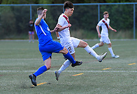 Action from the Central League Football match between Wellington Olympic and Lower Hutt United at Wakefield Park in Wellington, New Zealand on Saturday, 12 September 2020. Photo: Dave Lintott / lintottphoto.co.nz
