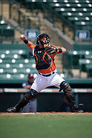 Baltimore Orioles catcher Ben Breazeale (79) throws down to second base during an Instructional League game against the Atlanta Braves on September 25, 2017 at Ed Smith Stadium in Sarasota, Florida.  (Mike Janes/Four Seam Images)