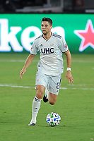 WASHINGTON, DC - AUGUST 25: Matt Polster #8 of New England Revolution moves the ball during a game between New England Revolution and D.C. United at Audi Field on August 25, 2020 in Washington, DC.