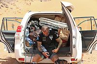 6th October 2021; Etape Mystere ;  Marathon des Sables, stage 4 of  a six-day, 251 km ultramarathon, which is approximately the distance of six regular marathons. The longest single stage is 82 km long. This multiday race is held every year in southern Morocco, in the Sahara Desert. James an ex firefighter suffering on the longest day