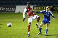 Flo Balogun of Arsenal gets ready to receive the ball as Gillingham's Henry Woods looks on during Gillingham vs Arsenal Under-21, Papa John's Trophy Football at the MEMS Priestfield Stadium on 10th November 2020