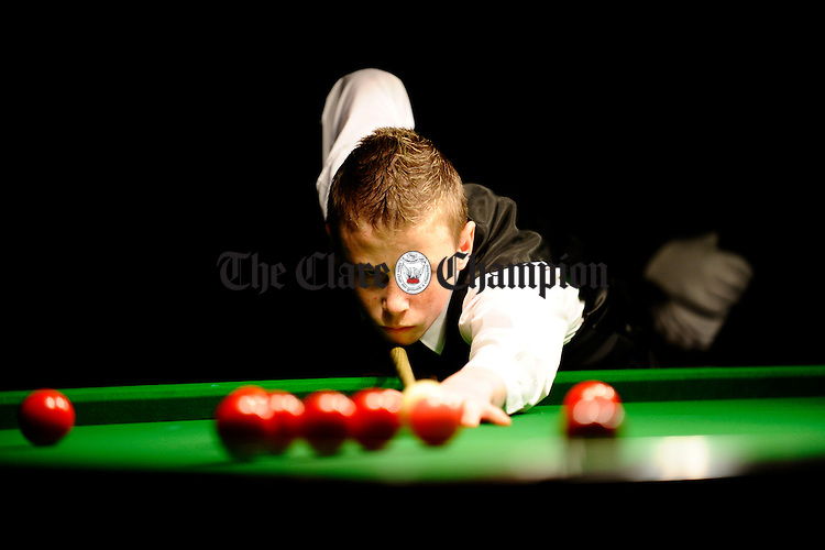Greg O Brien playing Jimmy White during the exhibition snooker event at the West County Ennis. Photograph by John Kelly.