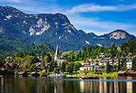 Oesterreich, Steyrisches Salzkammergut, Altaussee: Ortsteil Fischerndorf - Urlaubsort mit Pfarrkirche am Altausseer See | Austria, Styrian Salzkammergut, Altaussee: disrict Fischerndorf - holiday resort with parish church at lake Altaussee