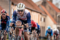 Edward Theuns (BEL/Trek-Segafredo)<br /> <br /> 44th AG Driedaagse Brugge-De Panne 2020 (1.UWT / BEL)<br /> 1 day race from Brugge to De Panne (203km shortened to 188km due to the windy weather conditions) <br /> <br /> ©kramon