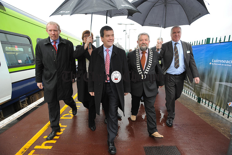 Minister Noel Dempsey flanked by Timmy Dooley, TD and acting Mayor John Crowe arrives in Ennis to unveil a plaque during the opening day of the Phase one of the Western Rail Corridor to Athenry. Photograph  by John Kelly.