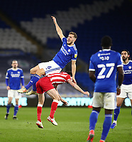 16th March 2021; Cardiff City Stadium, Cardiff, Glamorgan, Wales; English Football League Championship Football, Cardiff City versus Stoke City; Will Vaulks of Cardiff City is fouled as he goes up for the header