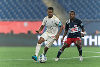 FOXBOROUGH, MA - AUGUST 5: Pecka #7 of North Carolina FC dribbles during a game between North Carolina FC and New England Revolution II at Gillette Stadium on August 5, 2021 in Foxborough, Massachusetts.