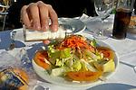 www.travel-lightart.com, ©Paul J. Trummer, Andalucia, Andalusia, Cadiz, Costa de la Luz, Europe, Geography, Sanlucar, Sanlucar de Barrameda, Spain, Ernährung, Food, Gemischter Salat, Gericht, Gerichte, Salate, Speise, Speisen, Tellergericht, Tellergerichte, Vorspeise, Vorspeisen, dish, dishes, mixed salad, salads, starter, food stuff, food stuffs, foodstuffs, vitamins, Esswaren, Lebensmittel, Nahrungsmittel, Vitamin, Vitamine, bodies, body, folks, hand, hands, human, human being, human beings, human bodies, human body, humans, living being, parts of body, people, person, persons, woman's hand, women`s hands, Frauenhaende, Frauenhand, Frauenhände, Koerper, Körper, Körperteil, Körperteile, Lebewesen, Leute, Mensch, Menschen, Personen, Gewuerz, Gewuerze, Gewürz, Gewürze, Salz, salt, spice, spices, Aktivität, Aktivitäten, Arbeit, arbeiten, Kochen, Tätigkeit, Tätigkeiten, active, activities, activity, cooking, work, working