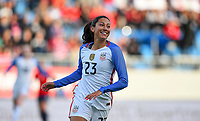 Sandefjord, Norway - June 11, 2017: Christen Press scores a goal during their game vs Norway in an international friendly at Komplett Arena.