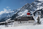Church at the base Stuben Ski Area, St Anton, Austria