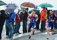 28 APR 2012 - LES SABLES D'OLONNE, FRA - David Bishop (Rouen Triathlon) (centre) leads team mate Arnaud Chivot (right) during the run at the men's French Grand Prix Series triathlon prologue round in Les Sables d'Olonne, France (PHOTO (C) 2012 NIGEL FARROW)