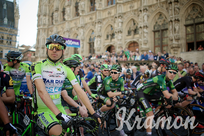 riders waiting for the start in front of the historic town hall of Leuven, Stefano Pirazzi (ITA/Bardiani-CSF) up front<br /> <br /> 55th Brabantse Pijl 2015