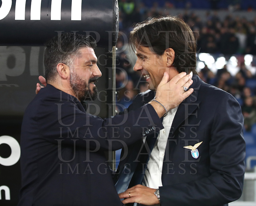 Football, Serie A: S.S. Lazio - Napoli, Olympic stadium, Rome, January 11, 2020.<br /> Lazio's coach Simone Inzaghi (r) greets Napoli's coach Gennaro Gattuso (l) prior to the Italian Serie A football match between S.S. Lazio and Napoli at Rome's Olympic stadium, Rome , on January 11, 2020.<br /> UPDATE IMAGES PRESS/Isabella Bonotto