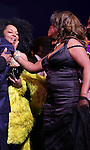 Diana Ross & Mary Wilson sharing a tender moment during the Broadway Opening Night Performance Curtain Call for 'Motown The Musical'  at the Lunt Fontanne Theatre in New York City on 4/14/2013..