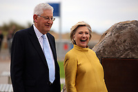 Pictured L-R: Professor Richard B Davies and Vice Chancellor of Swansea University, Hillary Clinton unveil a commemorative plaque on a rock at Swansea University Bay Campus. Saturday 14 October 2017<br /> Re: Hillary Clinton, the former US secretary of state and 2016 American presidential candidate will be presented with an honorary doctorate during a ceremony at Swansea University's Bay Campus in Wales, UK, to recognise her commitment to promoting the rights of families and children around the world.<br /> Mrs Clinton's great grandparents were from south Wales.