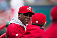 St. Louis Cardinals assistant to the general manager Willie McGee talks to players in the dugout during a game against the San Antonio Missions at Hammons Field on April 16, 2013 in Springfield, Missouri. (David Welker/Four Seam Images)