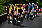 The remains of the peloton with Steven Kruijswijk (NED) and Team Jumbo-Visma on the front on the final climb to Saint-Martin-de-Belleville during Stage 3 of Criterium du Dauphine 2020, running 157km from Corenc to Saint-Martin-de-Belleville, France. 14th August 2020.<br /> Picture: ASO/Alex Broadway | Cyclefile<br /> All photos usage must carry mandatory copyright credit (© Cyclefile | ASO/Alex Broadway)