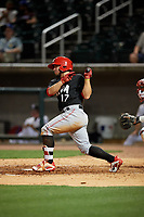Chattanooga Lookouts Alberti Chavez (17) at bat during a Southern League game against the Birmingham Barons on May 1, 2019 at Regions Field in Birmingham, Alabama.  Chattanooga defeated Birmingham 5-0.  (Mike Janes/Four Seam Images)