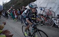 Rigoberto Uran (COL/Etixx-Quickstep) up the dirt roads of the Colle delle Finestre (2178m)<br /> <br /> Giro d'Italia 2015<br /> stage 20: Saint Vincent - Sestriere (199km)