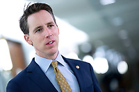 United States Senator Josh Hawley (Republican of Missouri) speaks to members of the media as he arrives to a United States Senate Committee on the Judiciary business meeting at the United States Capitol in Washington D.C., U.S., on Thursday, June 11, 2020.  Credit: Stefani Reynolds / CNP/AdMedia