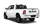 Car pictures of rear three quarter view of 2017 Ram 1500 Night Crew 4 Door Pick Up angular rear