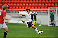 Yael Averbuch strikes a shot on goal. The USA defeated Norway 2-1 at Olhao Stadium on February 26, 2010 at the Algarve Cup.