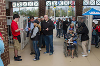Fans have their tickets ripped as the enter Kannapolis Intimidators Stadium for the South Atlantic League game between the Lakewood BlueClaws and the Kannapolis Intimidators on April 6, 2017 in Kannapolis, North Carolina.  The BlueClaws defeated the Intimidators 7-5.  (Brian Westerholt/Four Seam Images)