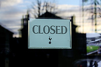 30th December 2020; Tottenham Hotspur Stadium, London, England; English Premier League Football, Tottenham Hotspur versus Fulham; Closed signage on one of the main doors at Tottenham Hotspur Stadium as the game is called off before kick-off due to an outbreak of covid-19 at Fulham club