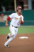 David Oppenheim (29) of the Southern California Trojans runs the bases during a game against the Mississippi State Bulldogs at Dedeaux Field on March 5, 2016 in Los Angeles, California. Mississippi State defeated Southern California , 8-7. (Larry Goren/Four Seam Images)