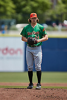 Down East Wood Ducks starting pitcher Mason Englert (24) during the game against the Kannapolis Cannon Ballers at Atrium Health Ballpark on May 9, 2021 in Kannapolis, North Carolina. (Brian Westerholt/Four Seam Images)