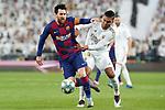 Real Madrid's Carlos Henrique Casemiro (r) and FC Barcelona's Leo Messi during La Liga match. March 1,2020. (ALTERPHOTOS/Acero)