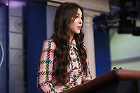 Olivia Rodrigo speaks, during a news conference in the James S. Brady Press Briefing Room with Jen Psaki, White House press secretary, at the White House in Washington, D.C., U.S., on Wednesday, July 14, 2021. <br /> CAP/MPI/RS<br /> ©RS/MPI/Capital Pictures