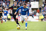 St Johnstone v Rangers…11.09.21  McDiarmid Park    SPFL<br />Michael O'Halloran and Steven Davis<br />Picture by Graeme Hart.<br />Copyright Perthshire Picture Agency<br />Tel: 01738 623350  Mobile: 07990 594431