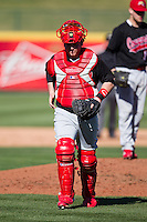 Brett Keeler (3) of the Southern Illinois University- Edwardsville Cougars walks back to the plate after a conference on the mound during a game against the Missouri State Bears at  Hammons Field on March 10, 2012 in Springfield, Missouri. (David Welker / Four Seam Images)
