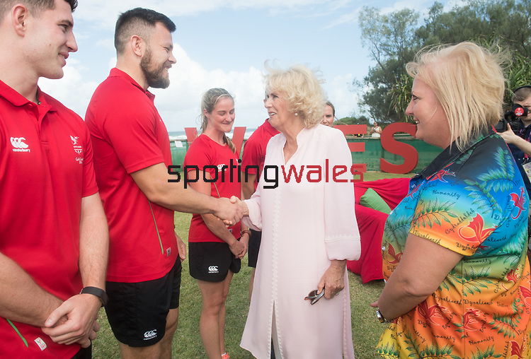 Camilla, Duchess of Cornwall meets Adam Thomas, Rugby 7's<br /> <br /> *This image must be credited to Ian Cook Sportingwales and can only be used in conjunction with this event only*<br /> <br /> 21st Commonwealth Games  -  Day 1- 05\04\2018 - Kurrawa Surf Club - Gold Coast City - Australia