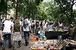 The alternative crowd flocks to a weekend Fleamarket at Boxhagener Platz in Friedrichshain , Berlin, Germany