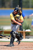 Pittsburgh Pirates catcher Jin De Jhang #50 during a minor league spring training game against the Toronto Blue Jays at Englebert Minor League Complex on March 16, 2013 in Dunedin, Florida.  (Mike Janes/Four Seam Images)