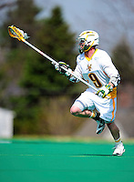 3 April 2010: University of Vermont Catamounts' Defenseman Evan O'Brien, a Junior from Winthrop, MA, in action against the Binghamton University Bearcats at Moulton Winder Field in Burlington, Vermont. The Catamounts defeated the visiting Bearcats 11-8 in Vermont's opening home game of the 2010 season. Mandatory Credit: Ed Wolfstein Photo