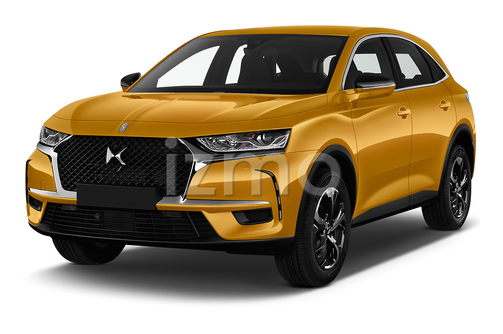 2018 DS DS7 Crossback Be Chic 5 Door SUV angular front stock photos of front three quarter view