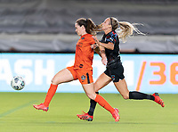 HOUSTON, TX - SEPTEMBER 10: Allysha Chapman #2 of the Houston Dash attempts to gain control of the ball with Rachel Hill #5 of the Chicago Red Stars all over her during a game between Chicago Red Stars and Houston Dash at BBVA Stadium on September 10, 2021 in Houston, Texas.