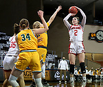 SIOUX FALLS, SD - MARCH 8: Liv Korngable #2 of the South Dakota Coyotes shoots a jumper against the North Dakota State Bison during the Summit League Basketball Tournament at the Sanford Pentagon in Sioux Falls, SD. (Photo by Dave Eggen/Inertia)