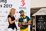 Aubrey Swanepoel of South Africa talks in the interview during Day 2 of Hong Kong Cricket World Sixes 2017 Award Presentation at Kowloon Cricket Club on 29 October 2017, in Hong Kong, China. Photo by Vivek Prakash / Power Sport Images