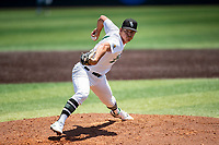 Wright State Raiders pitcher Bradley Deboutte (4) delivers a pitch to the plate against the Duke Blue Devils in NCAA Regional play on Robert M. Lindsay Field at Lindsey Nelson Stadium on June 5, 2021, in Knoxville, Tennessee. (Danny Parker/Four Seam Images)