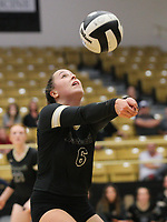 Katelyn Simpson (6) of Bentonville hits ball on Thursday, Oct.  7, 2021, during play at Tiger Arena in Bentonville. Visit nwaonline.com/211008Daily/ for today's photo gallery.<br /> (Special to the NWA Democrat-Gazette/David Beach)