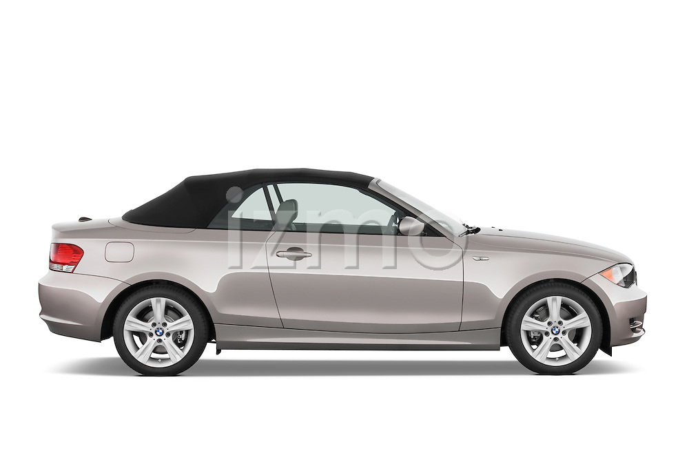 Passenger side profile view of a 2007 - 2011 BMW 1-Series 128i convertible.