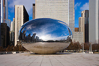 Morning reflections in the ice-streaked Cloud Gate (The Bean) in Millennium Park; Chicago, IL